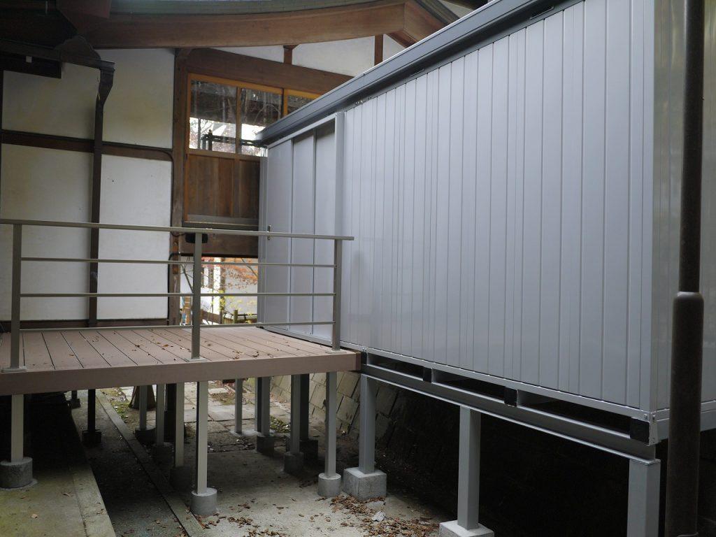 大型イナバ物置設置付帯工事施工例:ガーデニングリフォーム